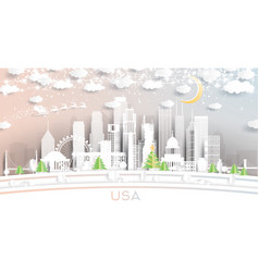 usa city skyline in paper cut style with vector image