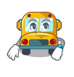 waiting school bus mascot cartoon vector image