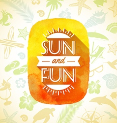 Watercolor banner with summer greeting vector