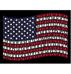 Waving united states flag stylized composition of vector