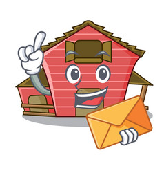 With envelope a red barn house character cartoon vector