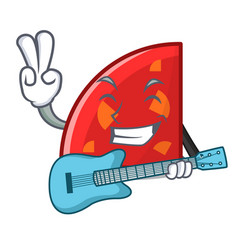 With guitar quadrant mascot cartoon style vector