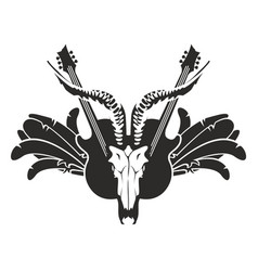 with guitar wings and skull vector image
