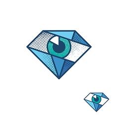 An eye as a diamond corporate identity symbol vector image