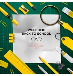 Back to school template with schools supplies vector image vector image
