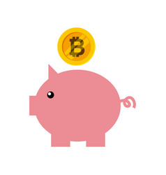 bitcoin virtual coin design vector image vector image