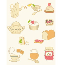 coffee and tea doodles vector image vector image