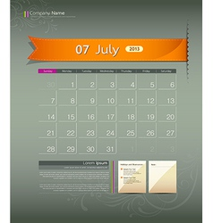July 2013 Calendar vector image