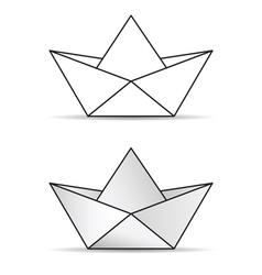 paper boat set icon vector image