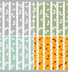 Set of seamless pattern birch trees vector