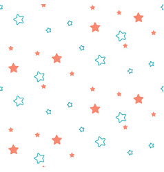 star shape blue and green seamless kid pattern vector image