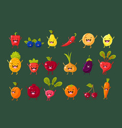fruits berries and vegetables sett pepper vector image