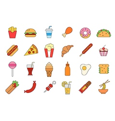 Junk food colorful icons set vector image