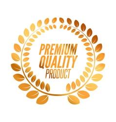 Premium quality badge product golden laurel wreath vector
