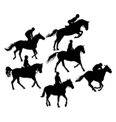 Silhouette of Horseman vector image