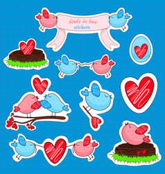 stickers with birds in love and friendship vector image vector image