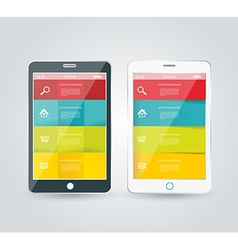 Touch screen smartphone with modern infographic vector image vector image
