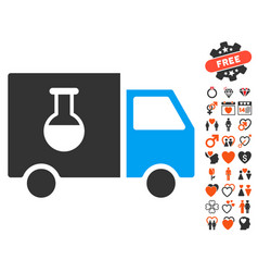 chemical delivery truck icon with dating bonus vector image vector image