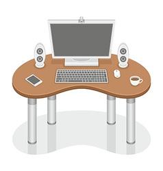 Computer desk vector image vector image