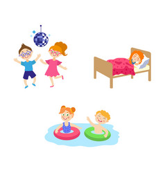 flat summer camp kids activity set vector image