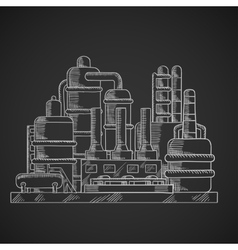 Oil refinery factory in outline style vector image vector image
