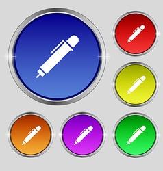 Pen icon sign round symbol on bright colourful vector