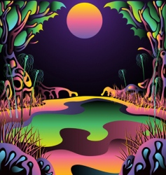 psychedelic forest landscape vector illustration vector image vector image
