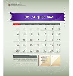 August 2013 Calendar vector image