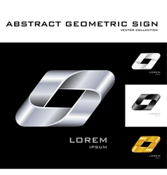 Geometrical sign logo design template black white vector image