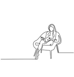 woman sitting with book in chair vector image