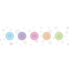 5 piece icons vector