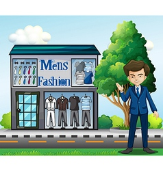 A business owner outside mens fashion shop vector