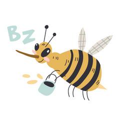 A cheerful bee flies with bucket honey cute vector