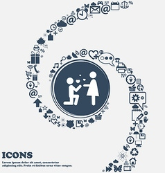 An offer of marriage sign icon in the center vector