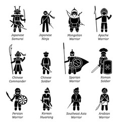 Ancient warriors around world depict vector