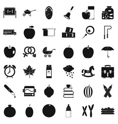 Apple icons set simple style vector