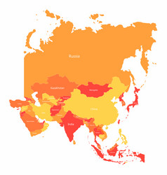 Asia map with countries borders abstract red vector