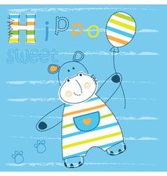 Baby background with cute hippo vector image vector image