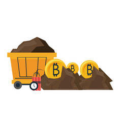 Bitcoin mining with wagon and tnt vector