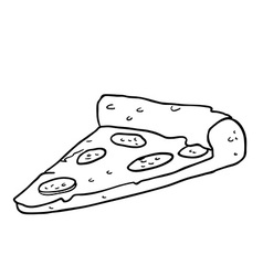black and white pizza slice vector image
