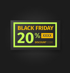 Black friday 20 percent discount coupon vector