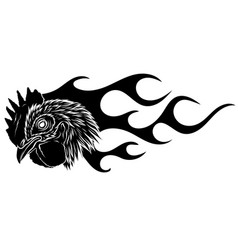 Black silhouette fire flare flame poultry rooster vector