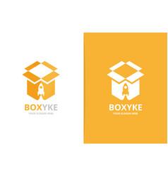 Box and rocket logo combination unique vector