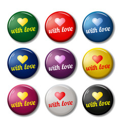 bright round labels with hearts vector image