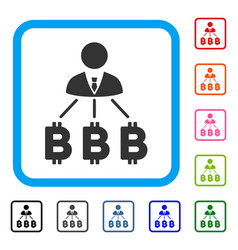 businessman bitcoin expences framed icon vector image