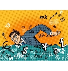 businessman swimming money business concept vector image