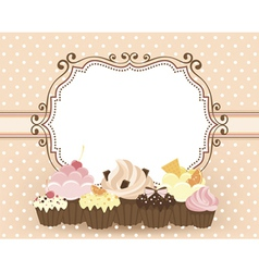 Card with muffins vector image
