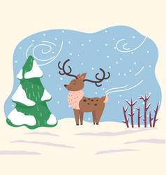 Cartoon character reindeer stand in winter forest vector