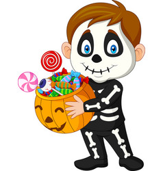 cartoon kid with skeleton costume holding pumpkin vector image