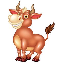 Cartoon mascot bull with large horns vector